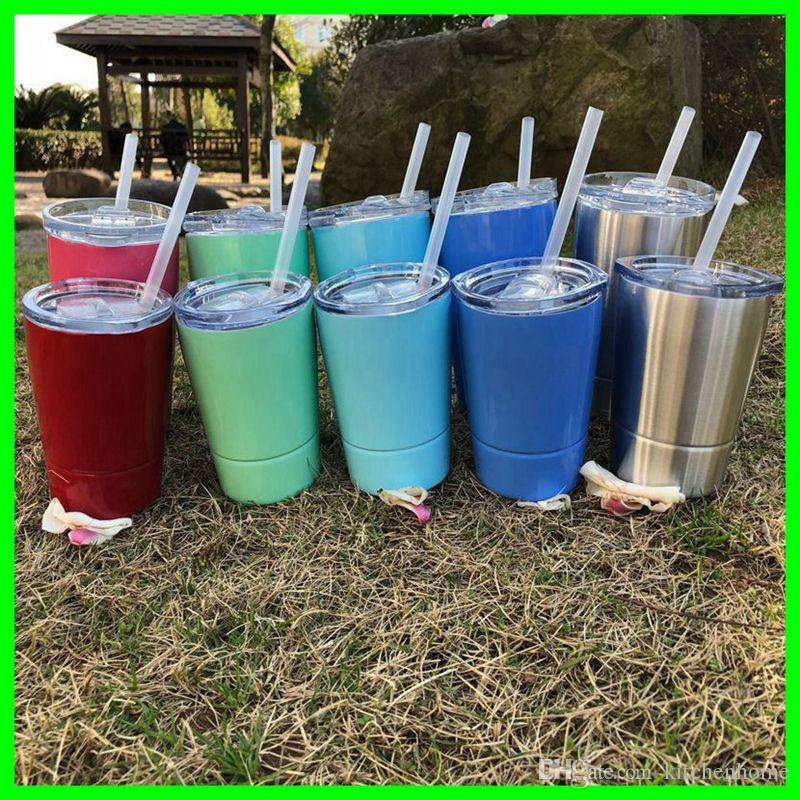 03478c2eb74 9oz 12oz Stainless Steel Drinking Mugs with Straw and Lid 304 S.S. Metal  Car Drinking Cups Bottles for Water Beer Juice Milk