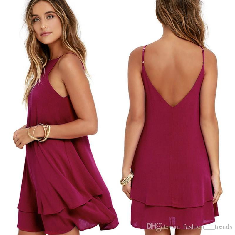 b115e15af3288 Sexy Solid color Chiffon Mini Dress Casual Spaghetti Strap A Line Beach  Party Dress Off Shoulder Backless Dresses Cocktail Clothes Vestidos