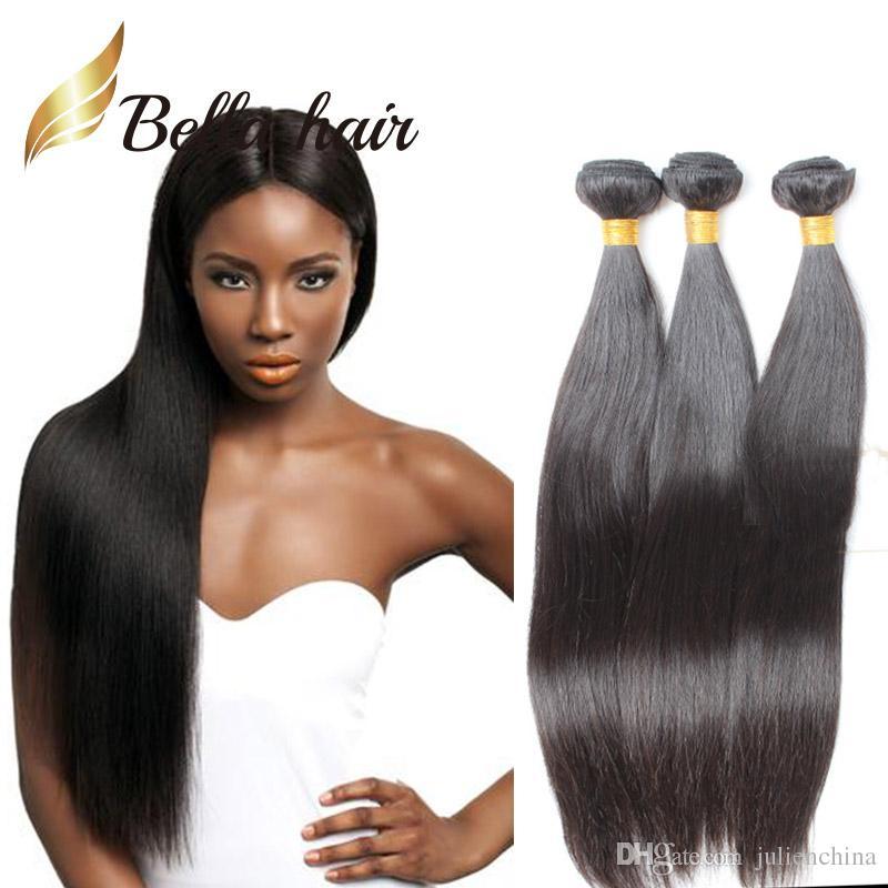3 buntar 9a 10 ~ 24 tums naturliga färg obearbetade brasilianska malaysiska indiska peruanska raka hårförlängningar