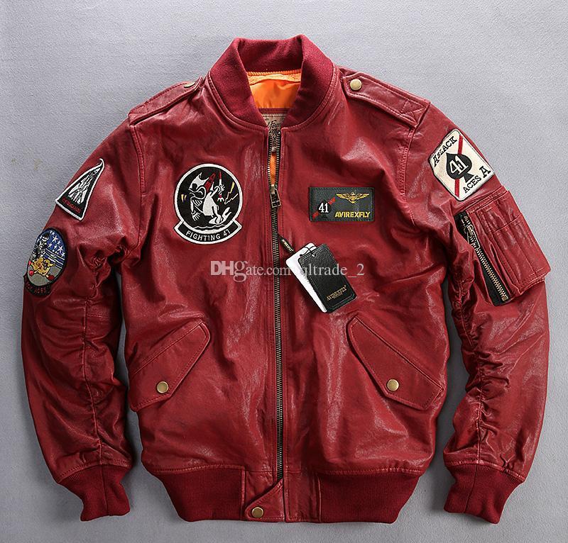 CARRIER AIR WING cazadoras de aviador AVIREX FLY Chaquetas de cuero flocando uniforme de béisbol lucha 41 ACES