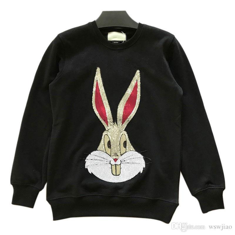 69dcbebd Hot designer brand Men and Women Sequin bunny logo sweater tracksuits jumper  jacket Women's Hoodies & Sweatshirts