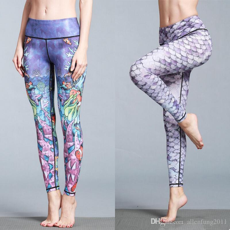 79034d603640 Großhandel Bunte Frauen Yoga Hose Sport Fitness Hosen Lady 3D Print Tier  Pfau Lion Fisch Papagei Leggings Elastizität Capris Schlank Atmungsaktiv  Von ...