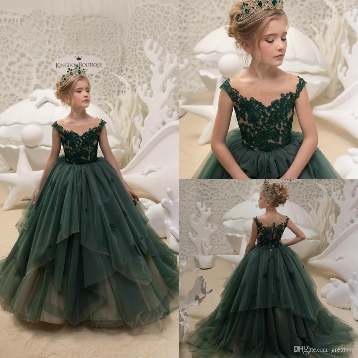 37628466aba Hunter Flower Girl Dresses Applique Ruffles Princess Party Kids Wedding  Dress Pageant First Communion Gowns Plus Size Robes De Fête Girls Ivory Dress  Girls ...
