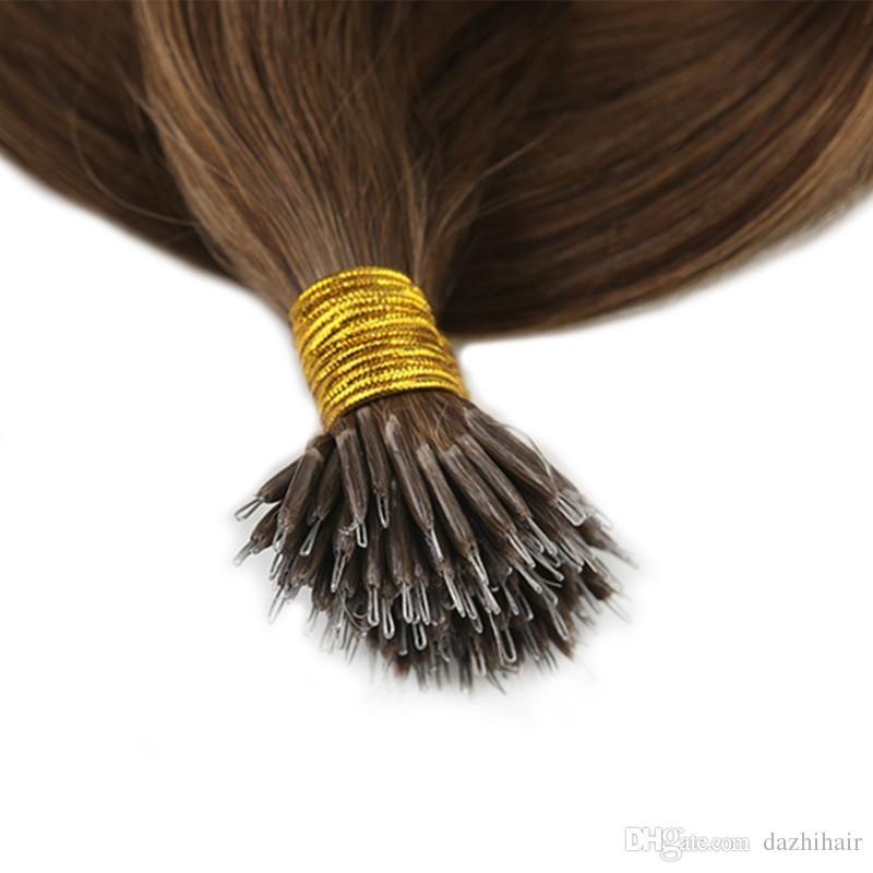 Nano Halka İnsan Saç Uzantıları Renk # 6 Orta Kahverengi Remy İnsan Saç Uzantıları Nano Ucu İnsan Saç Uzantıları