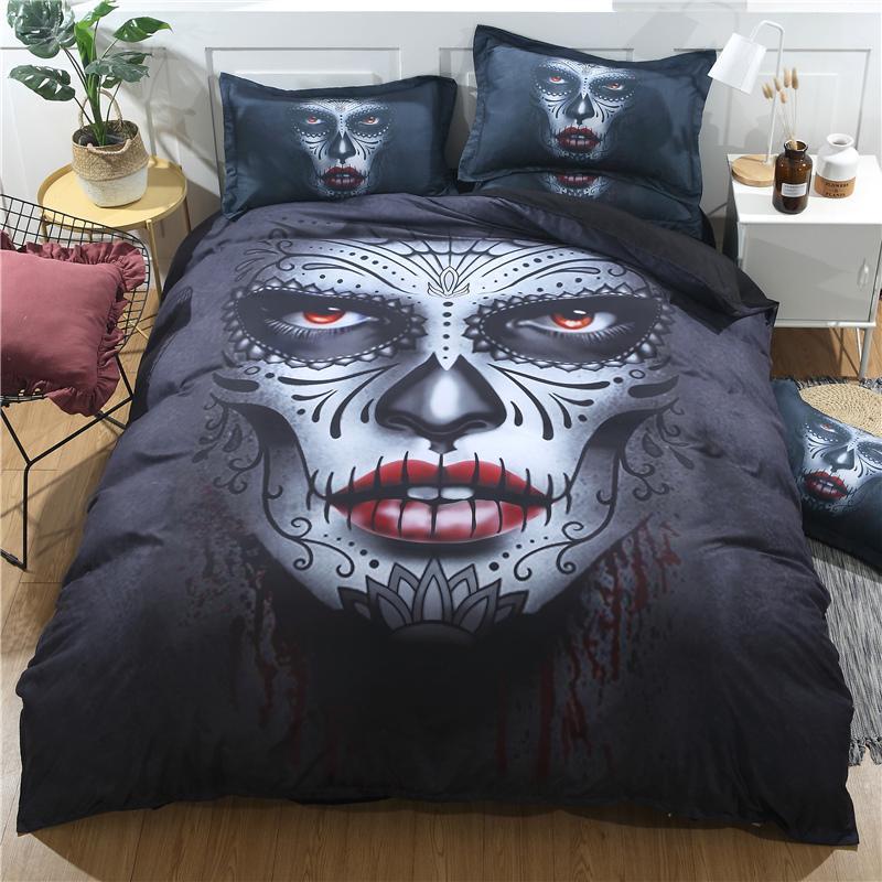 Großhandel Black Skull Bettwäsche Set Halloween Stil Bettlaken Queen
