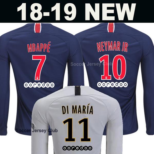 18 19 PSG Long Sleeve Soccer Jersey Paris MBAPPE CAVANI Full Saint ... 53a4dc349