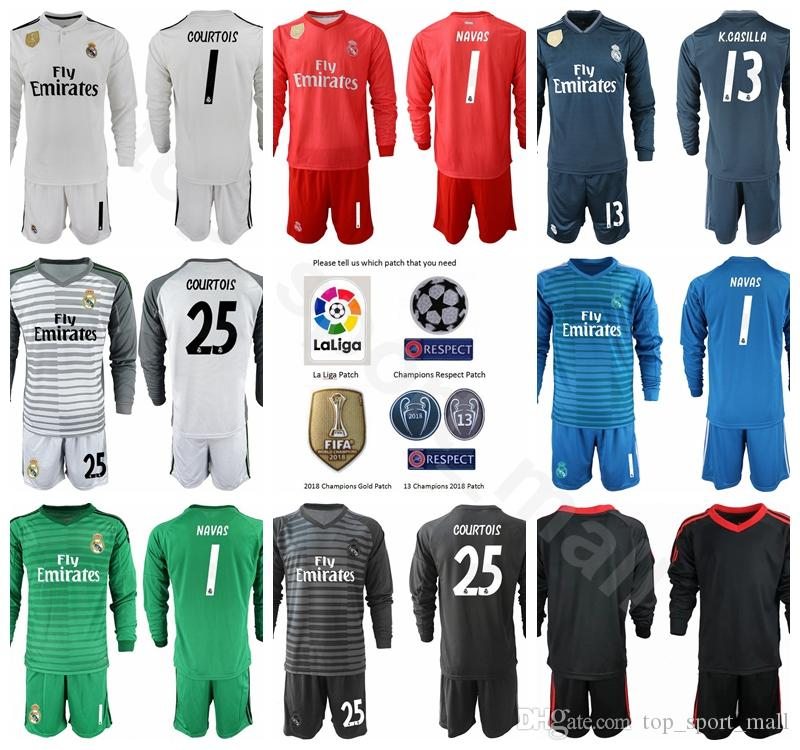 96befaa2ab8 2019 Goalkeeper GK Soccer Real Madrid Long 1 Iker Casillas Jersey Set  Champions 1 Keylor Navas 13 Casilla Thibaut Courtois Football Shirt Kits  From ...