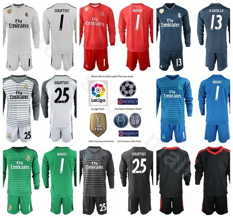 Compre Portero GK Fútbol Real Madrid Largo 1 Conjunto De Camiseta Iker  Casillas Jersey Campeones 1 Keylor Navas 13 Casilla Thibaut Courtois Fútbol  Kits A ... 2942765799f9e
