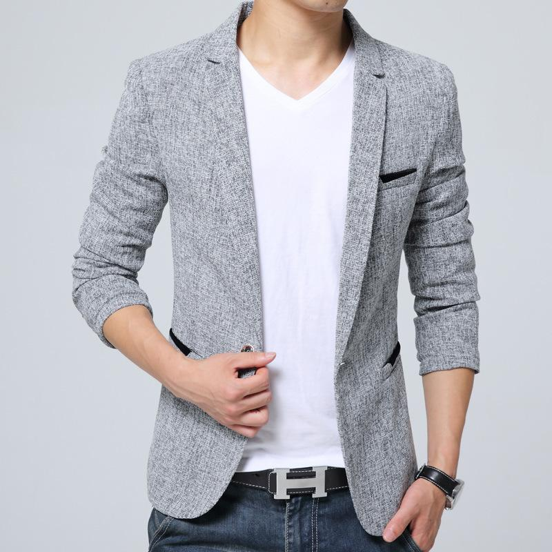 70a7b6cce11 Male blazer 2018 New Spring Men s Blazer Slim Fit Business Casual Linen  Blazers Outwear Overcoats Men Jacket Suit Blazers M-5XL