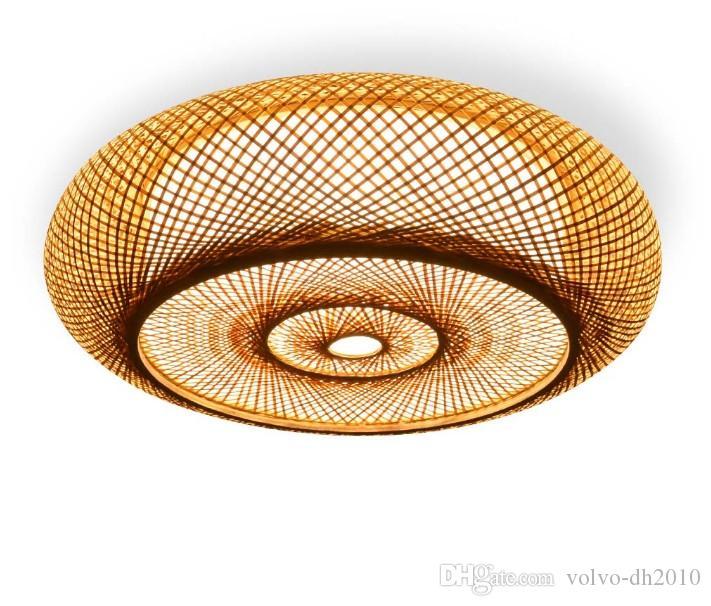 huge discount d0d07 cb475 Hand-woven Bamboo Wicker Rattan Round Lantern Shade Ceiling Light Fixture  Rustic Asian Japanese Plafon Lamp Bedroom Living Room LLFA