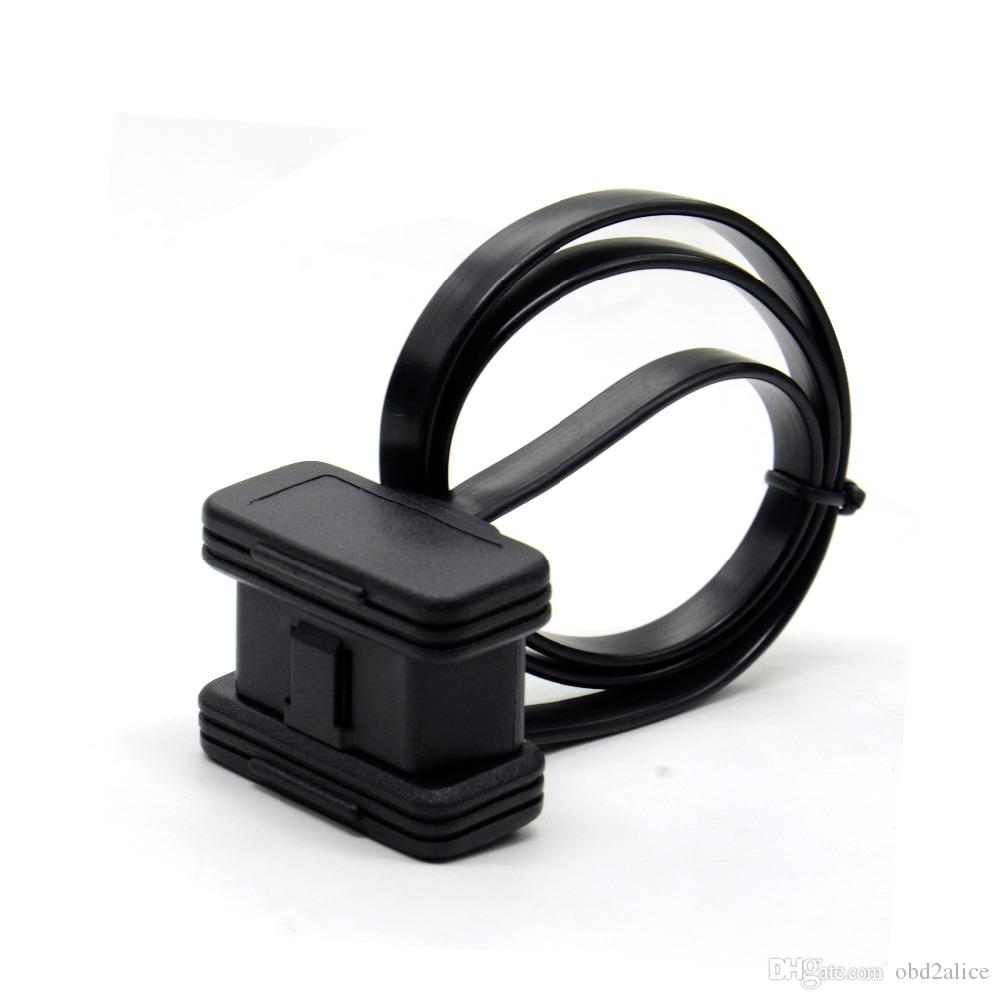 60CM Flat+Thin OBD2 16pin cable ELM327 Male To Female Elbow Car Connector Adapter 16 Pin OBDII OBD-II OBD 2 OBD2 Extension Cable
