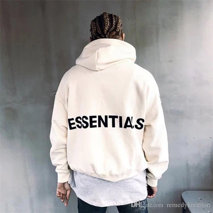 bb534a1508ba 2019 18ss Fear Of God Justin Bieber FOG Essentials Pullover Oversize Hoodie  Men Women Black White Grey Long Sleeve Hip Hop Hoody US SIZE From  Remedykreation ...