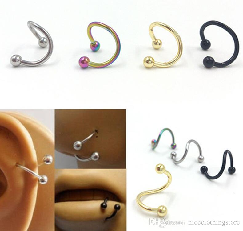 f1706a27b 2019 Punk Stainless Steel Nose Rings S Spiral Helix Ear Stud Lip Nose Ring  Body Piercing Jewelry From Niceclothingstore, $0.16 | DHgate.Com