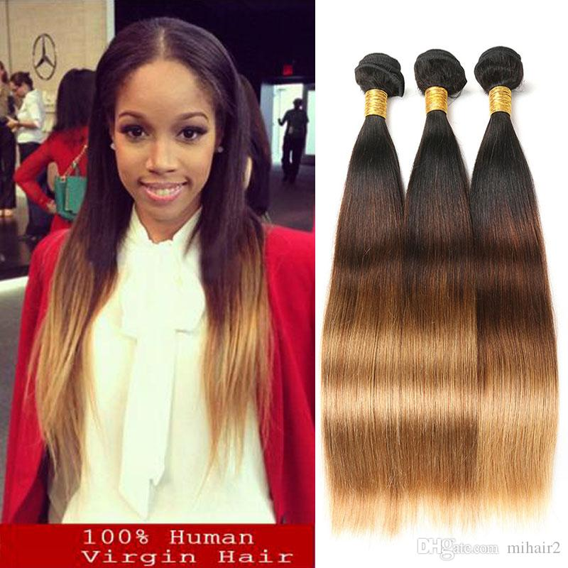 Ombre Malaysian Straight Hair Weave Extensions T1b427 Non Remy