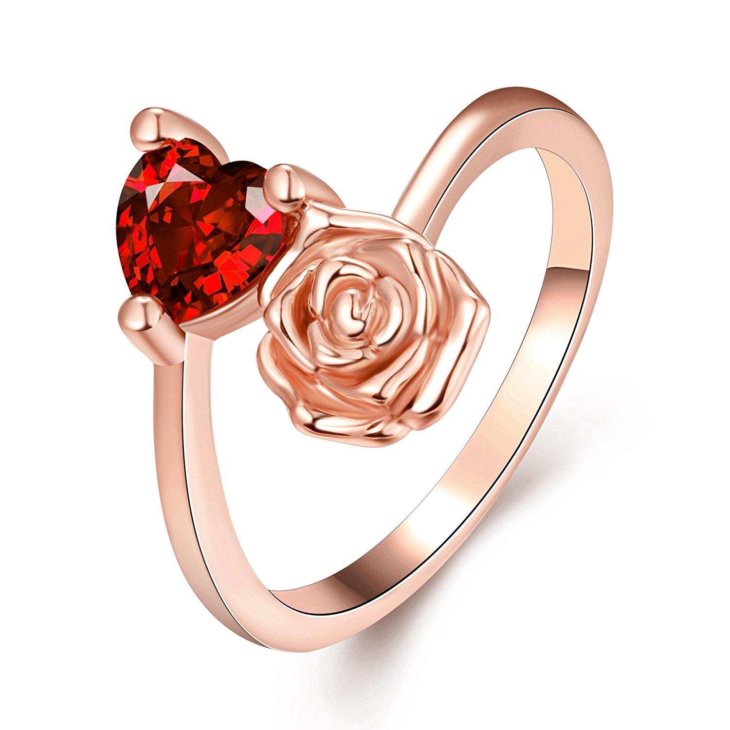 Godyce Heart Rose Ring for Women Size 7-8 Ruby Rose Gold/White Gold ...