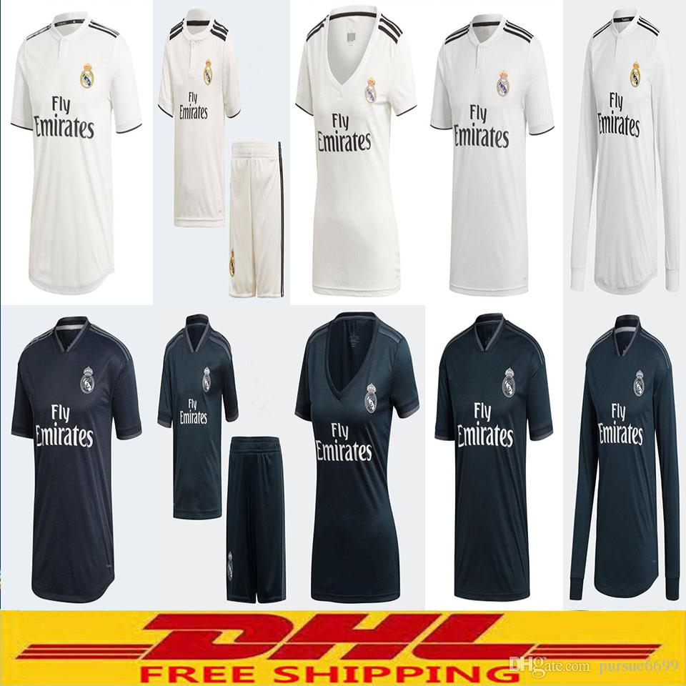 8641acfc503 DHL 18 19 Real Madrid Soccer Jersey 2018 Home Away Player Version ...