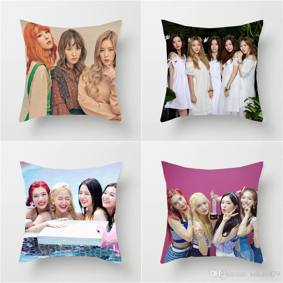 45 45 Cm South Korean Women S Group Singer TV Star Red Velvet Photos Cotton  Linen Cushion Cover Square Pillow Cases Sofa Bedroom Couch Throw Patio  Chairs ... 2d5fb94a1