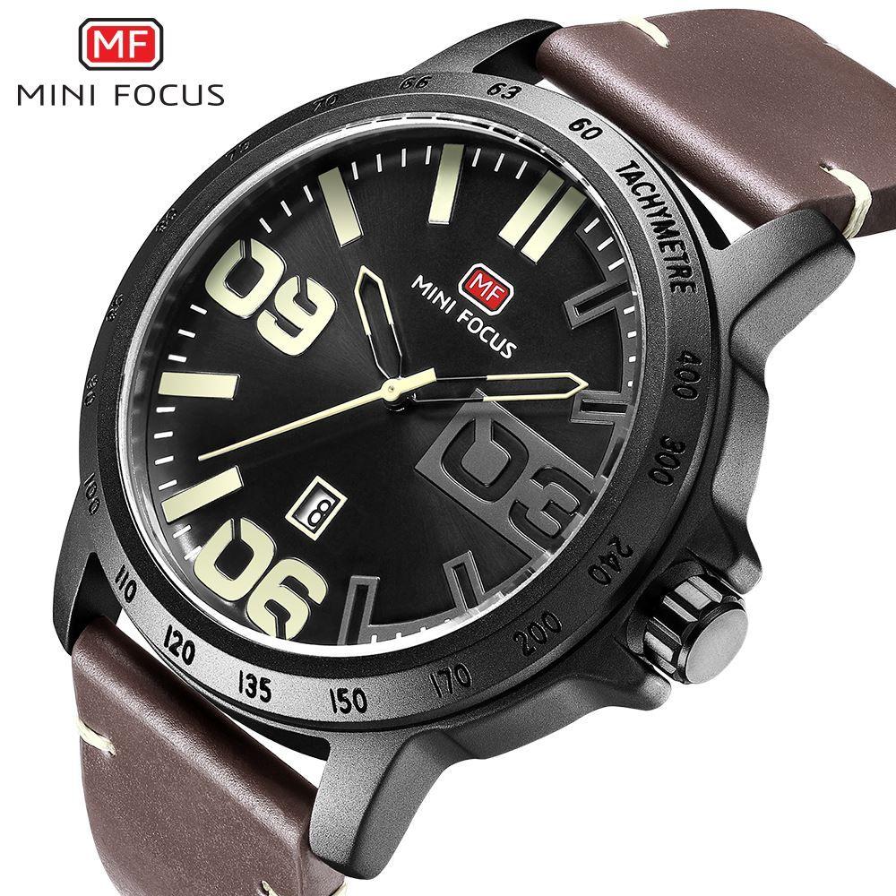 452ebdb0163 Compre MINI FOCO 2018 Relógio De Quartzo Homens Data Relógio Mens Relógios  Top Marca De Luxo Ocasional Pulseira De Couro Militar Masculino Relógio De  Pulso ...