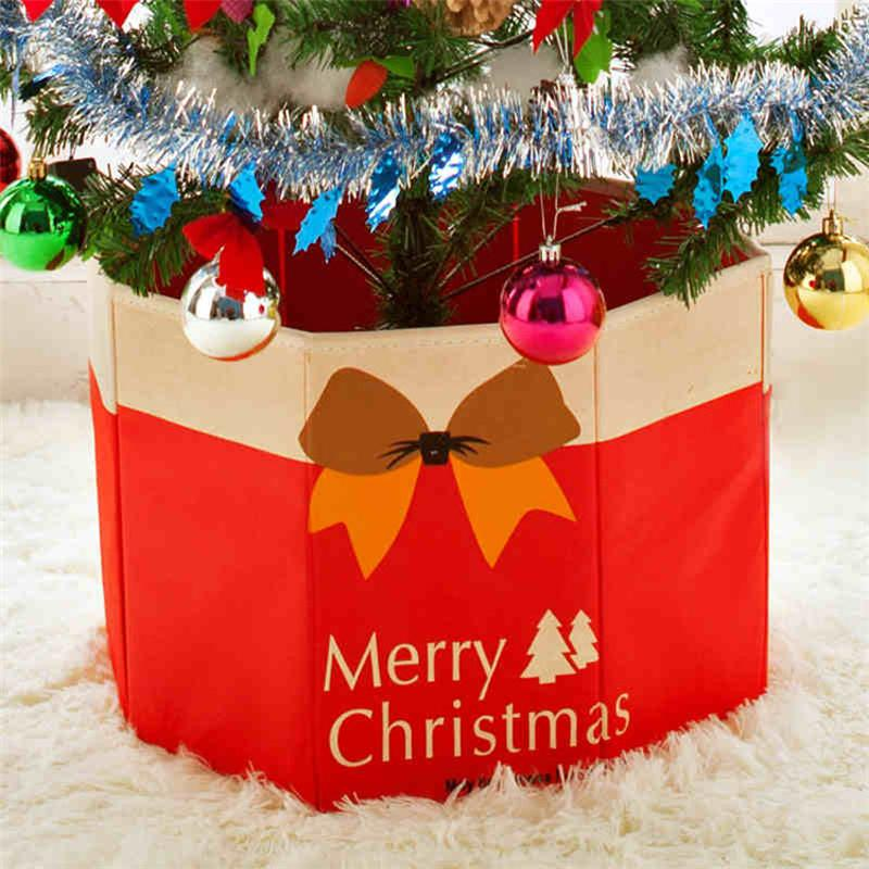 30x36cm christmas tree foot box ornaments bottom xmas party decoration storage linen christmas holiday diy storage box silver christmas ornaments snowflake