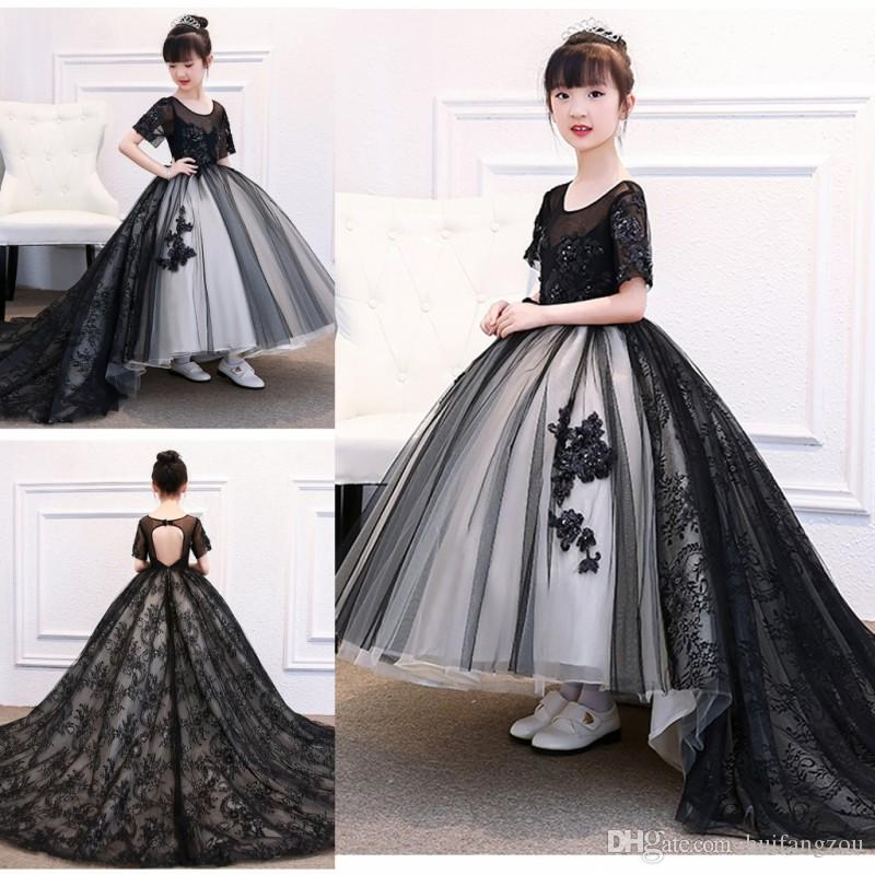 18b9656eeb 2018 Lovely Girls Pageant Dresses Black Lace Beaded Ball Gown Dress For  Important Events Jewel Neck Ankle Length Tulle Dresses Teen Pageant Dresses  Toddler ...