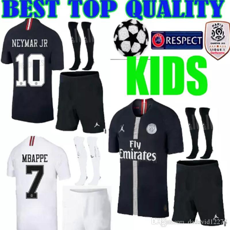 18 19 Champions League KIDS Kit Psg Camiseta De Fútbol Mbappe Negro Blanco  2018 2019 Paris CAVANI Third 3er Niños De Fútbol KIT Camiseta Por  Dadavid12278 0048fe617f721