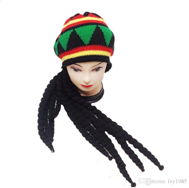 Compre Hombres Mujeres Jamican Rasta Sombrero Dreadlocks Peluca Bob ...