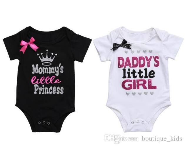 9ef8c8f677d66 Newborn Baby Girl Clothes Summer Daddy's Little Girl Letter Print Romper  Jumpsuit Short Sleeve One-pieces Outfit Cotton Infant Baby Clothing