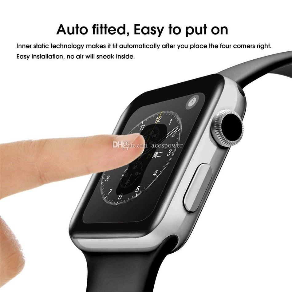 3D 강화 유리 Apple 시계에 대 한 풀 접착제 44mm 42mm 40mm 38mm 전체 커버 곡선 화면 보호기 시리즈 5 3 4 iWatch
