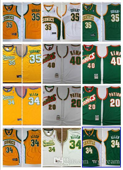 on sale 84bd3 a4992 Seattle supersonics men's basketball jersey 35 Kevin durant 34 ray Allen 20  peyton 40 kemp tailor jersey