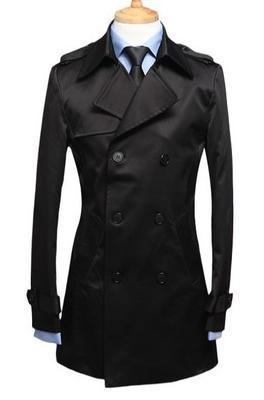 Black blue khaki men's spring clothing slim single breasted trench long coat men thin medium-long mens jackets and coats S - 3XL