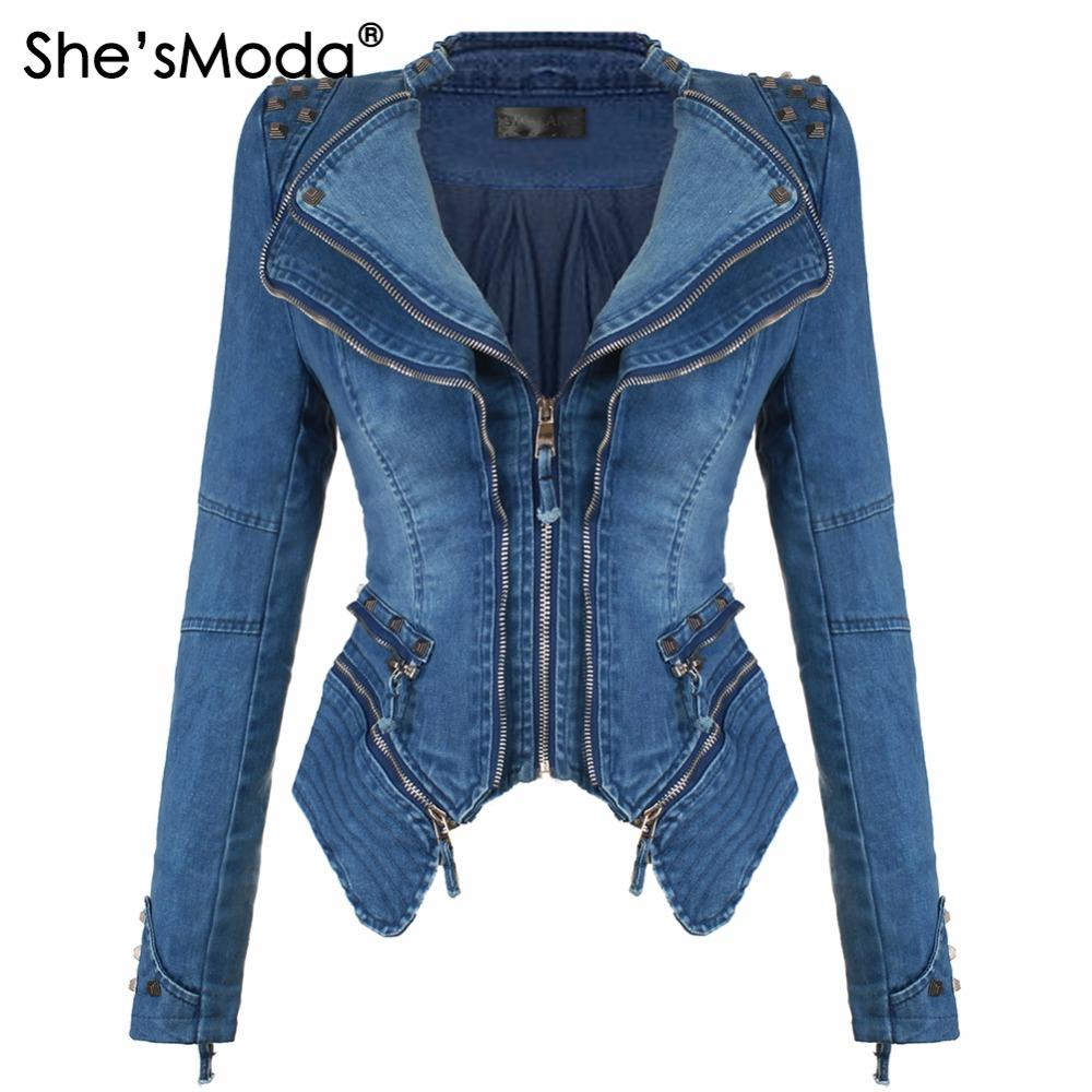 brand new bc48d f194a She sModa Denim Jeans imbottito giacca a spalla per le donne Slim Fit  Zipper cappotto invernale Moto Biker Giacche in pelle nera