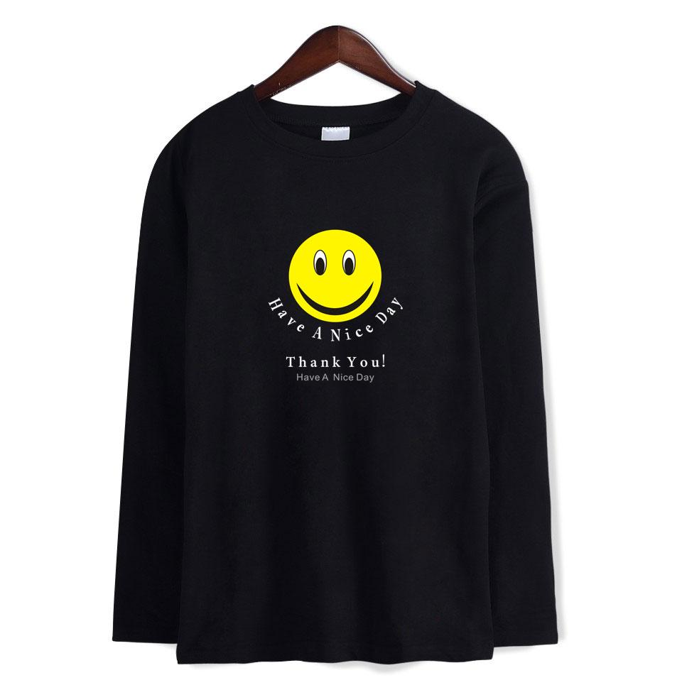 Men s Smile Face HAVE A NICE DAY Full Sleves T Shirts Man Women s Happy Face  Casual Cotton T-Shirt Tops Plus Size 4XL THANK YOU T-Shirts Cheap T-Shirts  ... 9e67e4a59a