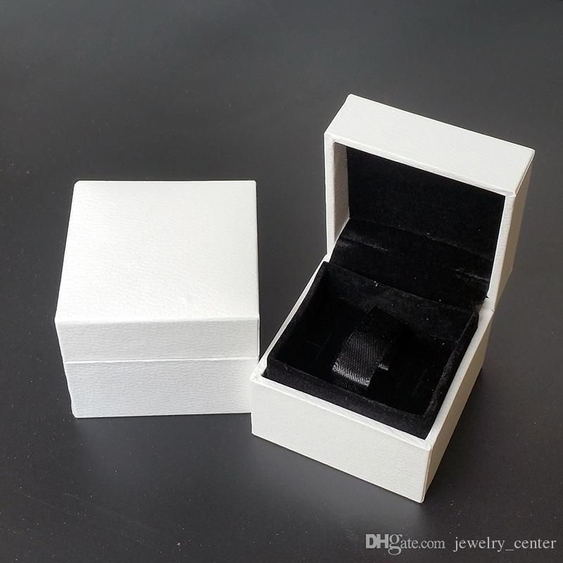 الكلاسيكية الأبيض مربع مجوهرات التعبئة والتغليف الصناديق الأصلية ل باندورا سحر الأسود المخملية الدائري أقراط عرض مربع المجوهرات