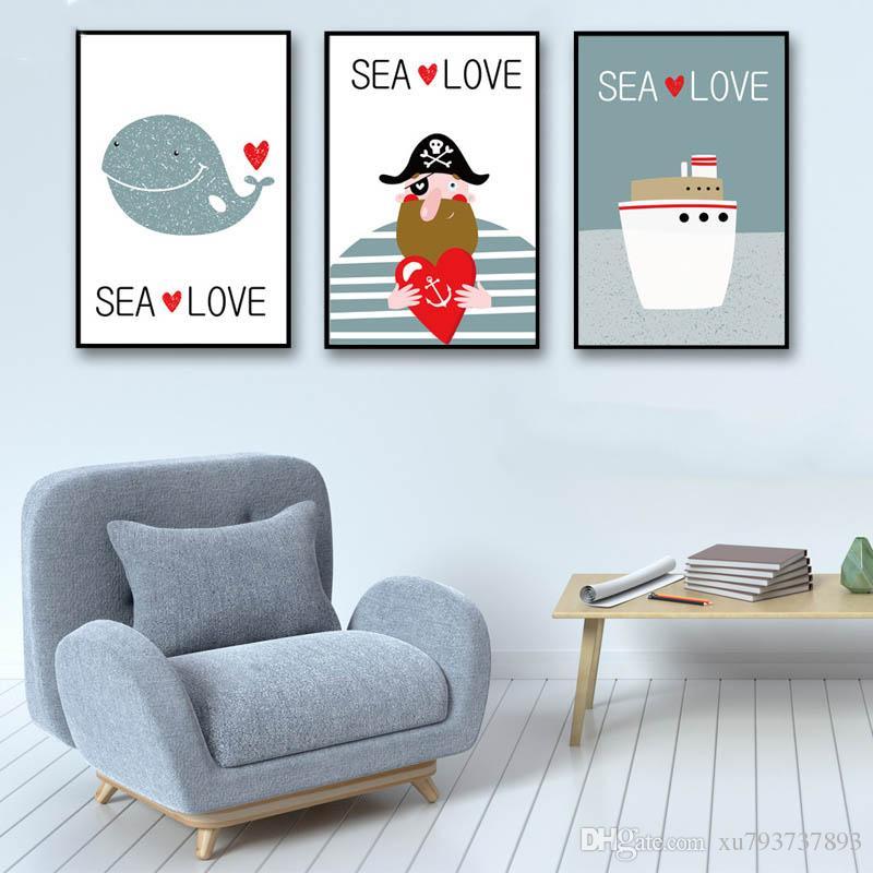 Satın Al Modern Duvar Resimleri Nordic Karikatür Deniz Balina Korsan