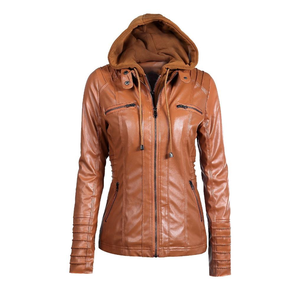 ba3c4c9b54d27 2018 Female Leather Jacket Plus Size Leather Jacket For Women Autumn Winter  Motorcycle Hooded Faux Long Sleeve PU Coat Leather   Suede Cheap Leather    Suede ...