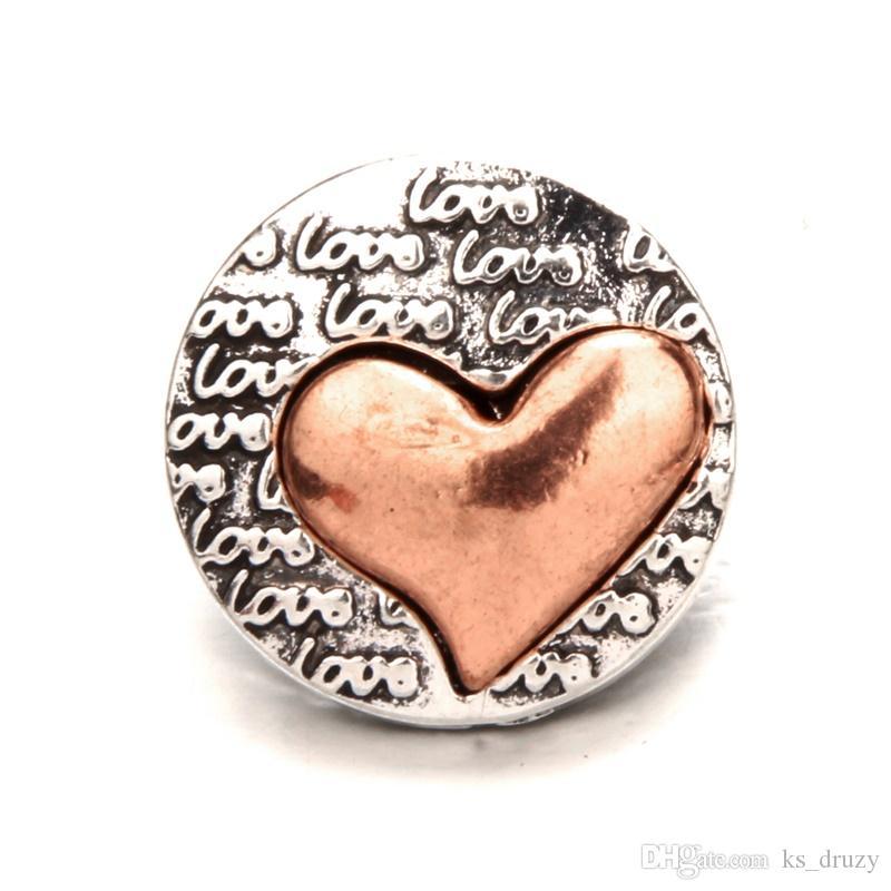 30 стили металла сердце любовь лапы Оснастки кнопки ювелирные изделия золото серебро стрелка Оснастки DIY 18 мм имбирь Оснастки браслет ожерелья аксессуары