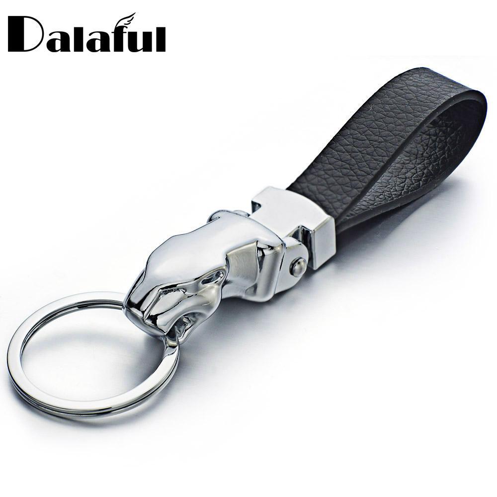 d35ce4cb7db6 Cabeza de leopardo de metal llaveros de cuero anillos titular para llaveros  del coche llaveros para hombre mujer regalo de alta calidad K262