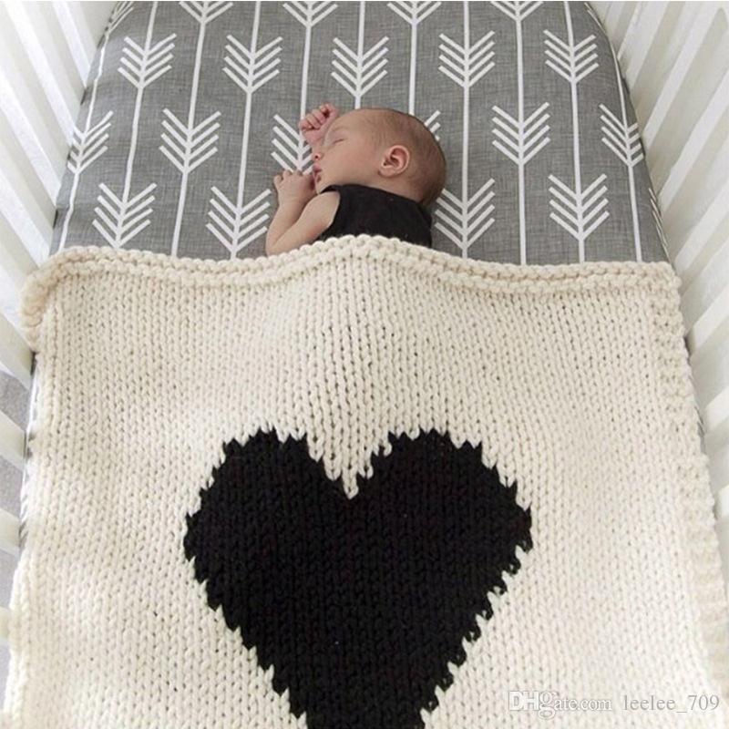Kids Ins Blanket Newborn Love Heart Crochet Swaddle Blanket Baby Boy
