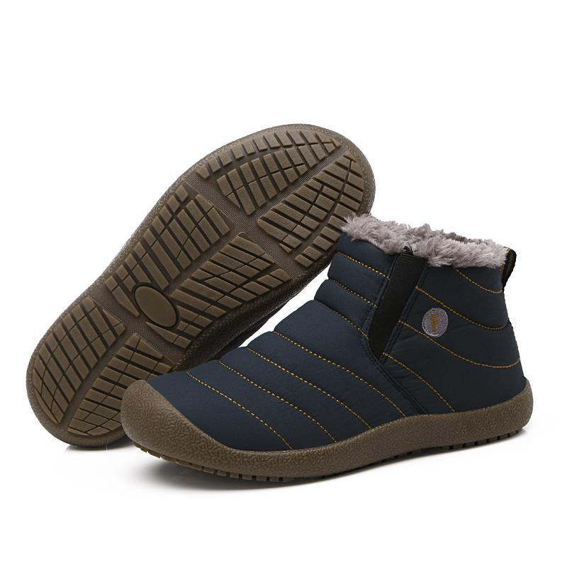 Snow Boots Just New Fashion Men Winter Shoes Solid Color Snow Boots Plush Inside Antiskid Bottom Keep Warm Boots Size 41-47 Black Brown Grey Men's Boots