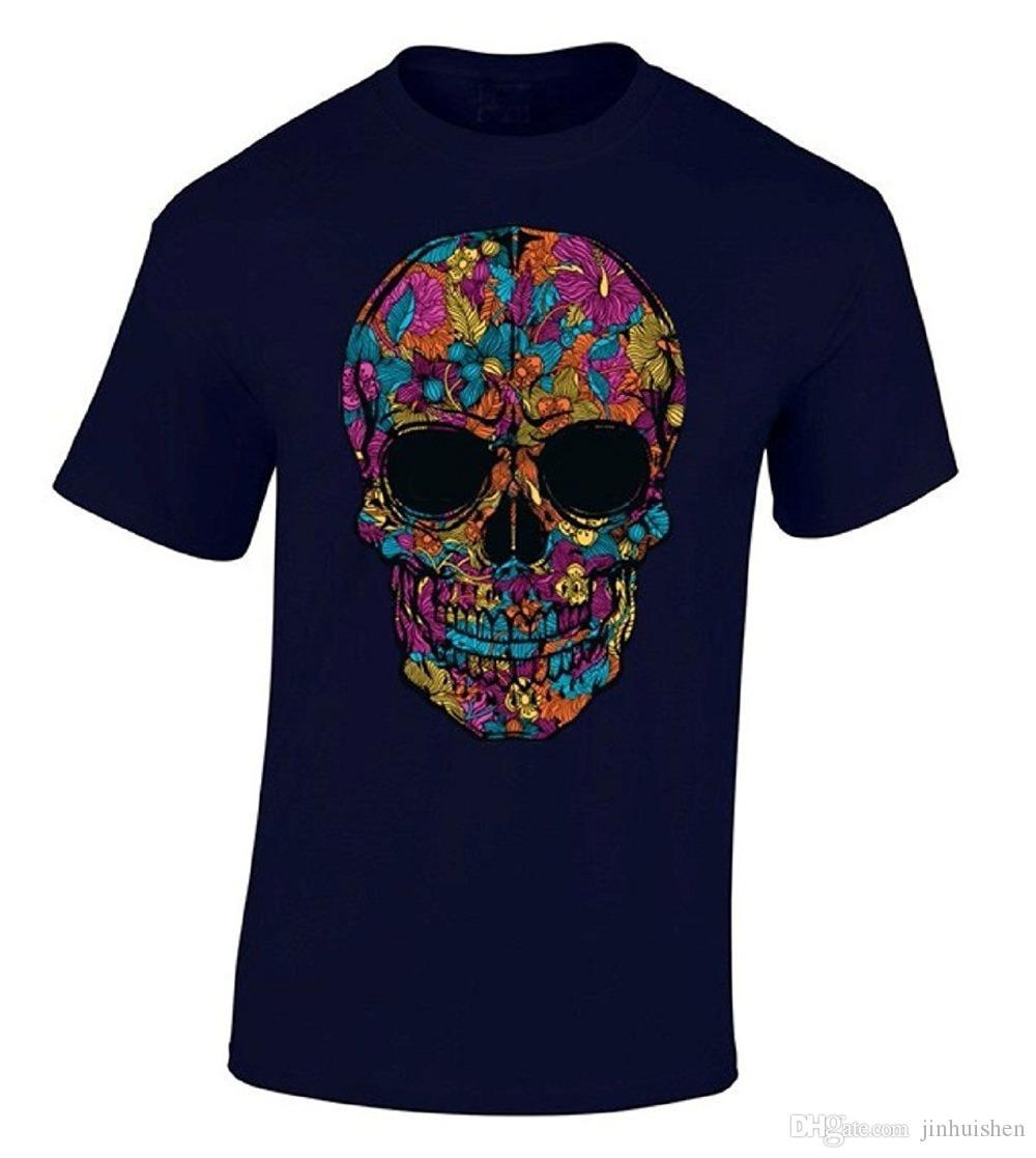 a304403f8bd 2018 Summer Style T Shirt Black Flower Skull T-shirt Flowered Sugar Skull  Shirt Brand Clothing Men T Shirt GORILLAZ T Shirts Hip-Hop Online with ...