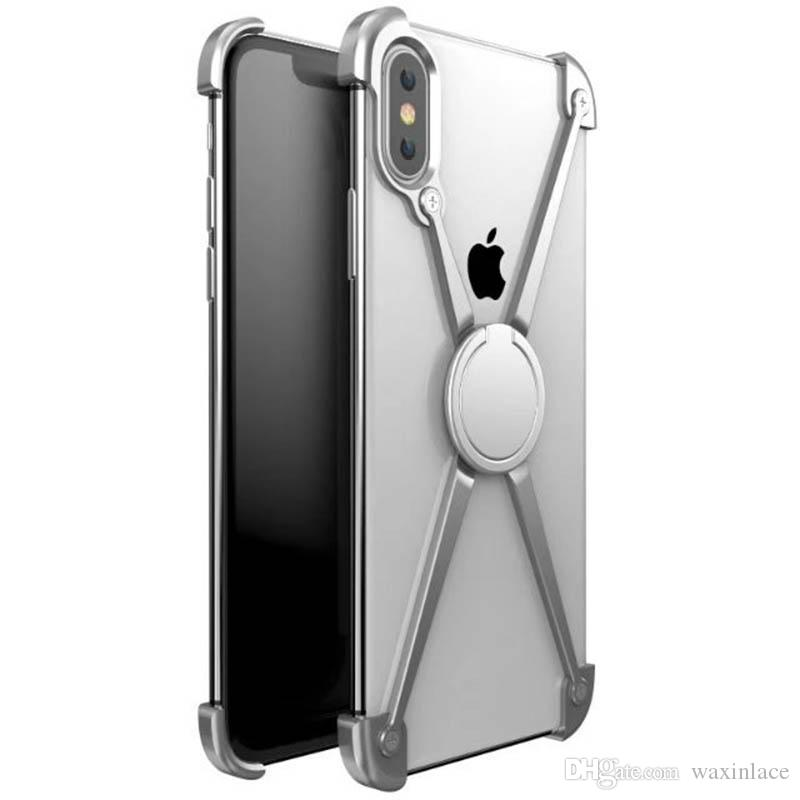 X Shape Ring Holder case For iPhone X Personality Shell for iPhone X Case Metal Bumper For iPhoneX