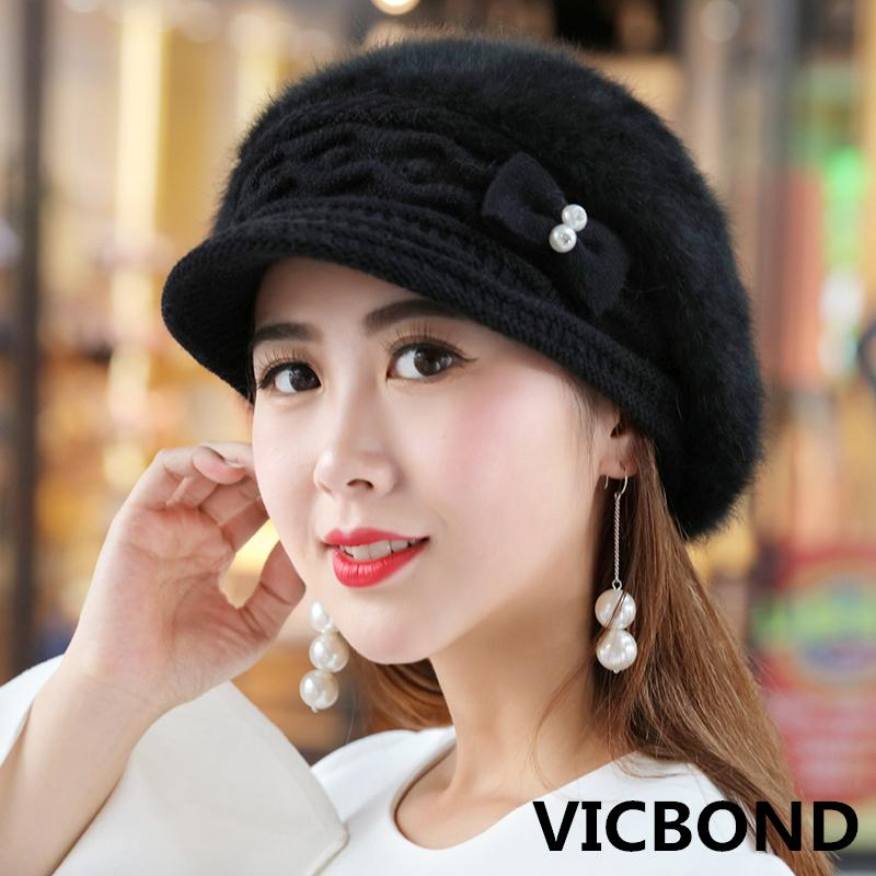 676ae5d9cc2 New Winter Cashmere Beret Duck Tongue Knitted Cap Solid Color Bow ...
