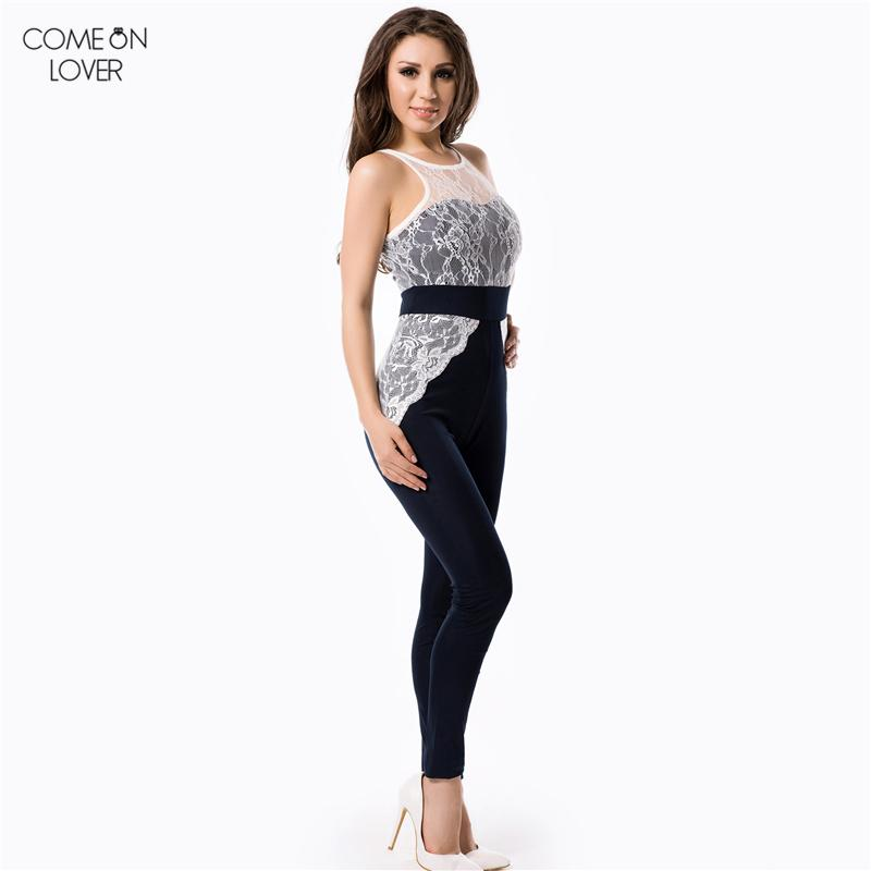Comeonlover Hot Selling Fashion Jumpsuit Full Length Women Bodysuit RT70199 Lace Sheer Mesh Jumpsuits Wholesale Womens Romper