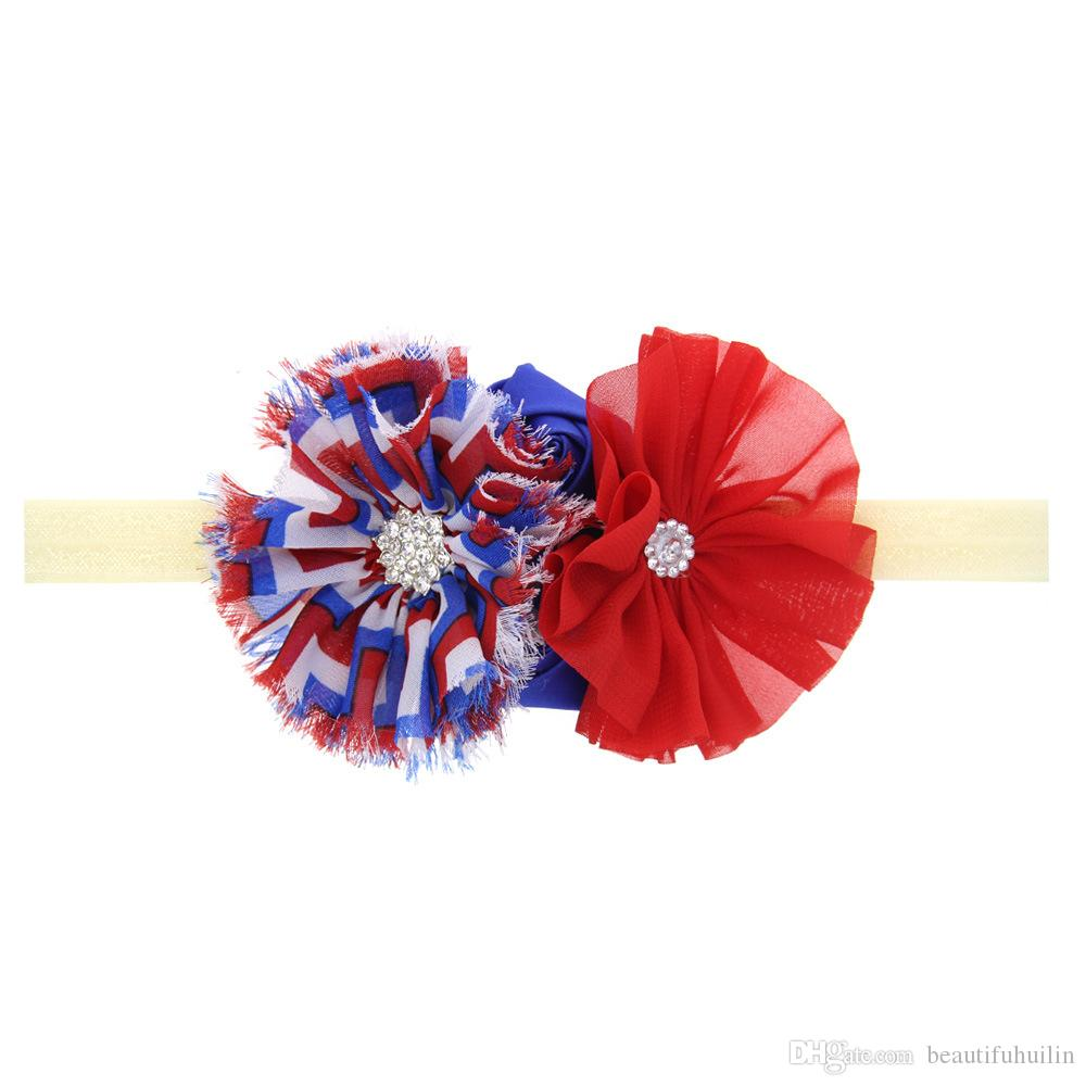 American Independence Day Baby Girls Rhinestone Flower Headband Elastic Headbands Kids Hair Accessories Beautiful HuiLin DW110