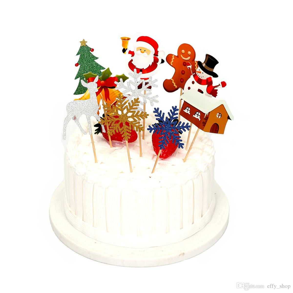Compre 10 Unids Set Cake Topper Cupcake Santa Claus Decoracion Del