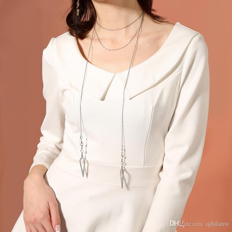 Slanw Collane nuova catena maglia lunga catena regolabile strass geometrica lunghe collane del pendente le donne goccia di modo di trasporto dei monili