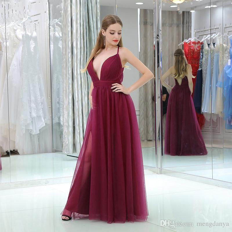 2019 Dark Red Tulle Cheap Evening Dresses V Neck Thin Straps Sexy Burgundy Prom Party Gowns