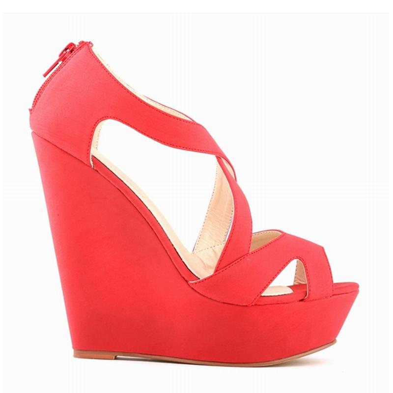 e5b4f5f9f15f0 LOSLANDIFEN New Women's Wedges Dress Sandals Pumps Suede Platform High  Heels Shoes Woman Sexy Peep Toe Wedding Summer Pumps 391-10Suede