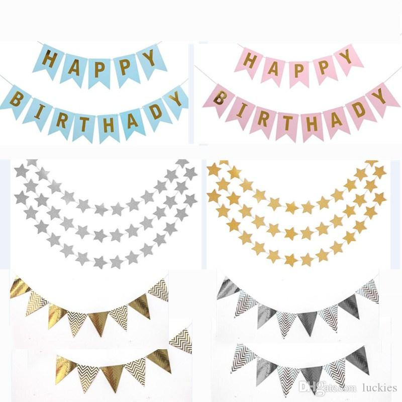 2018 happy birthday bunting banner shiny paper pennant banner