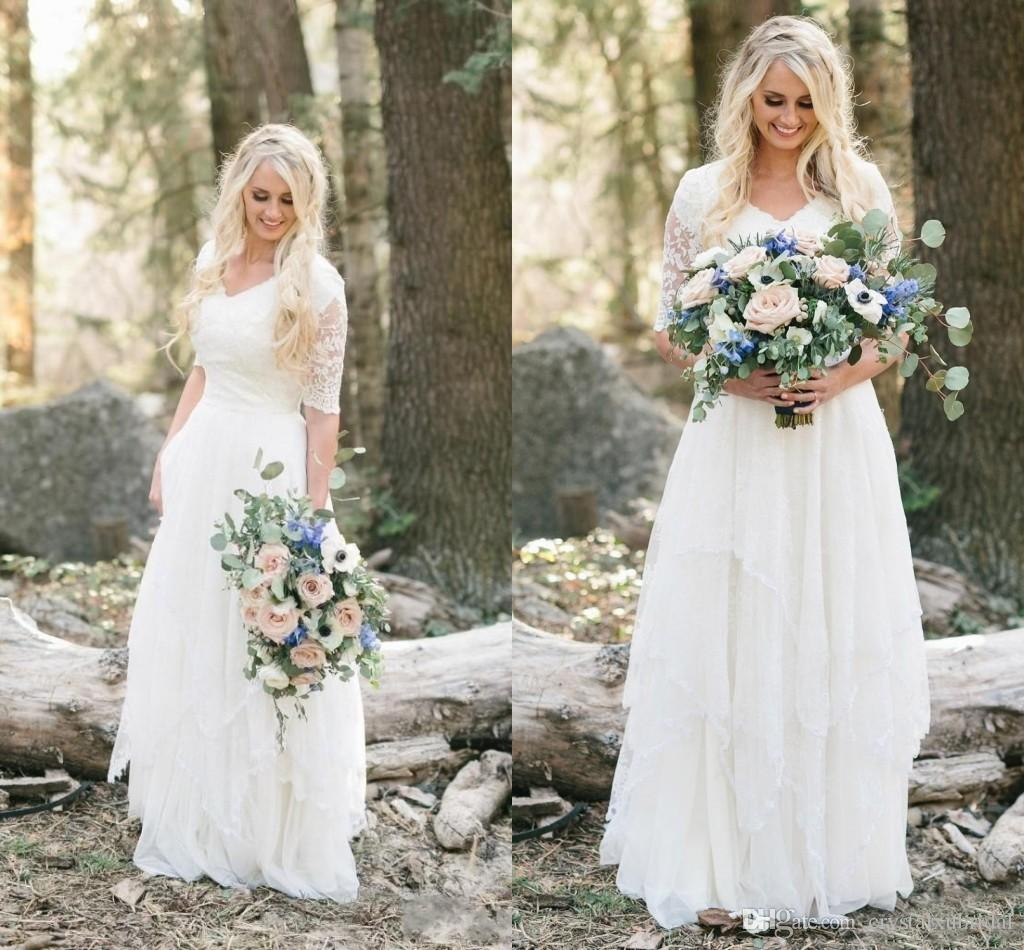 2018 Western Country Bohemian Forest A Line Wedding Dresses Beach Lace  Chiffon V Neck Half Sleeves Bridal Gowns Tiered Skirts Plus Size
